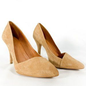 MADEWELL Mira Pump Heels Pointed Toe Tan Suede